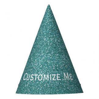 Teal Glitter Party Hat