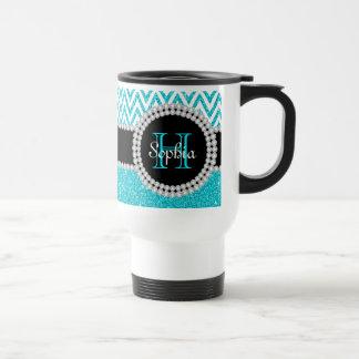Teal Glitter White Chevron Monogram Commuter Mug