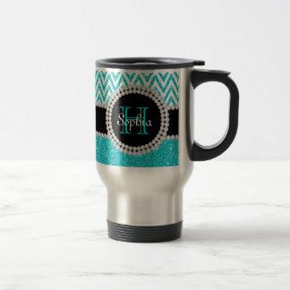 Teal Glitter White Chevron Monogram Travel Mug