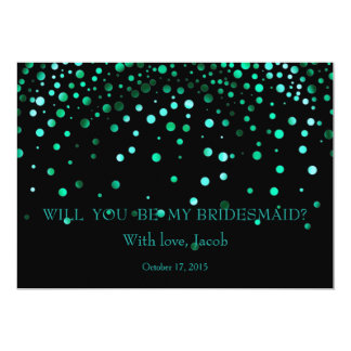 Teal Glitter Will You Be My Bridesmaid Invitation