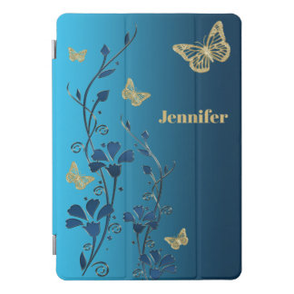 "Teal, Gold Floral, Butterflies 10.5"" iPad Cover"