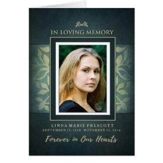 Teal & Gold Loving Memorial Service Photo Invite Card