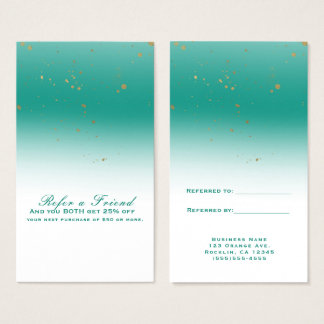 Teal & Gold Modern Glam Chic Refer a Friend Business Card
