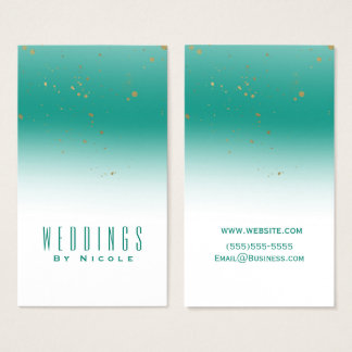 Teal & Gold Splatter Modern Glam Chic Glamour Business Card