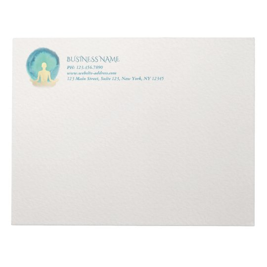 Teal Gold Watercolor YOGA Meditation Instructor Notepads