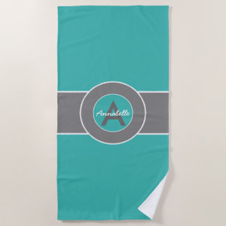 Teal Gray Monogram Personalized Beach Towel