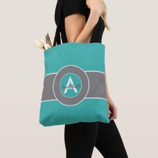 Teal Gray Monogram Personalized Tote Bag