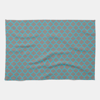 Teal & Gray quadrefoil pattern kitchen towel