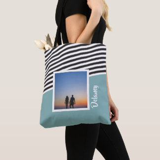 Teal Green and Striped Pattern Personalised Photo Tote Bag