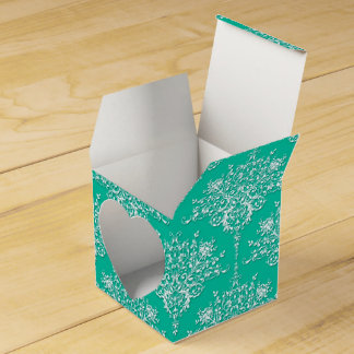 Teal Green and White Fancy Floral Damask Pattern Favour Box