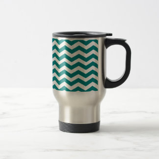 Teal Green And White Zigzag Chevron Pattern Coffee Mugs