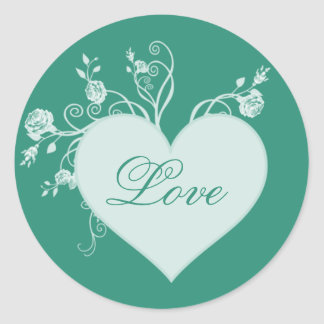 Teal Green Heart and Roses Love Stickers
