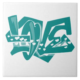 Teal Green Love Graffiti Large Square Tile