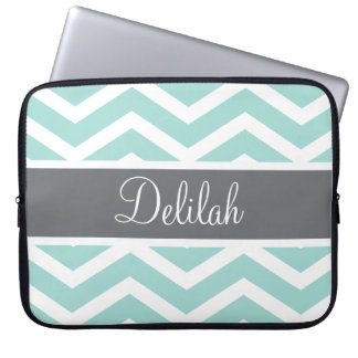 Teal Grey Gray Chevron Custom Laptop Computer Sleeves