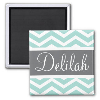 Teal Grey Gray Chevron Custom Magnet