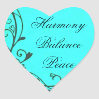 Teal Harmony Balance Peace Heart Sticker
