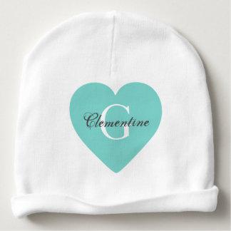 Teal Heart Name Initial Monogram Baby Beanie