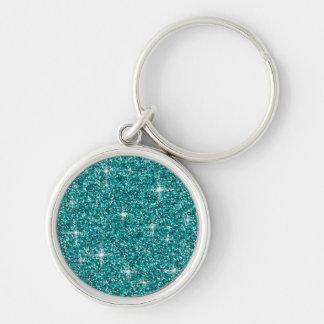 Teal iridescent glitter key ring