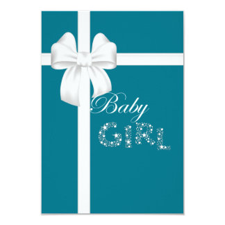 Teal Island Treasures White Bow Baby Girl Personalized Invite