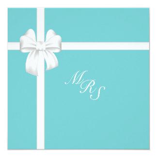 "Teal Island Treasures White Bow 5.25"" Square Invitation Card"