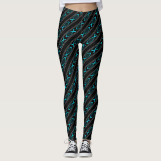 teal Jesus fish pattern Leggings