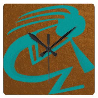 Teal Kokopelli Clock