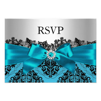 Teal Lace Damask & Bow RSVP Custom Invites