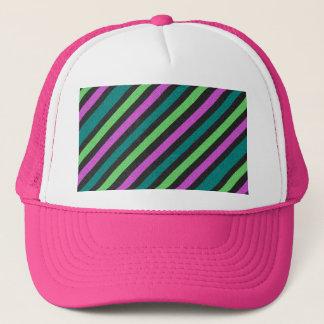 Teal, Lime Green, Hot Pink Glitter Striped Trucker Hat