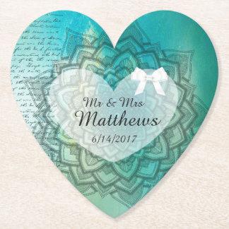 Teal Mandala Personalized Wedding Heart Coasters