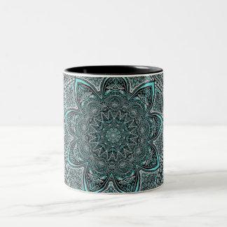 Teal Mandala Two-Tone Coffee Mug
