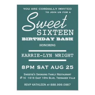 Teal Modern  Sweet 16 Party 13 Cm X 18 Cm Invitation Card