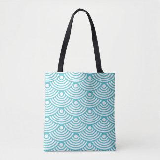 Teal Modern Waves Tote Bag