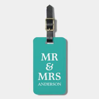Teal Mr & Mrs Wedding Honeymoon Travel Luggage Tag