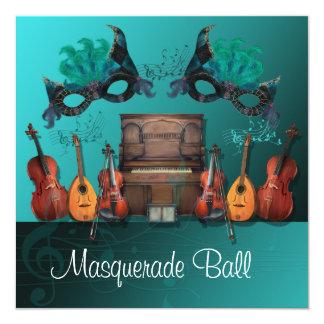 Teal Musical Instruments Masquerade Ball Invitatio Card