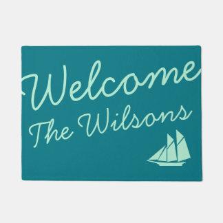 Teal Nautical Custom Name Doormat