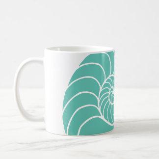 Teal Nautilus Sea Shell Basic White Mug