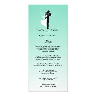 Teal Ombre Customizable Wedding Menu Card Customized Rack Card