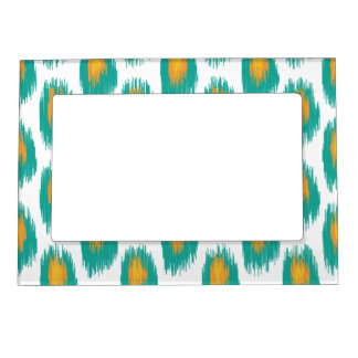 Teal Orange Abstract Tribal Ikat Circle Pattern Magnetic Picture Frame