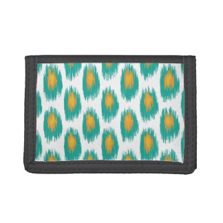 Teal Orange Abstract Tribal Ikat Circle Pattern Trifold Wallets