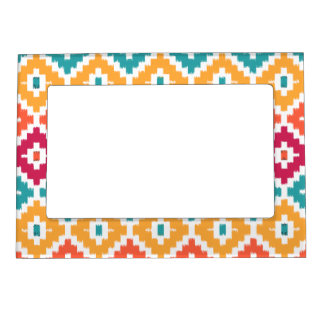 Teal Orange Aztec Tribal Print Ikat Diamond Pattrn Magnetic Picture Frame