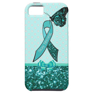 Teal Ovarian Cancer Awareness Ribbon & Butterfly iPhone 5 Case