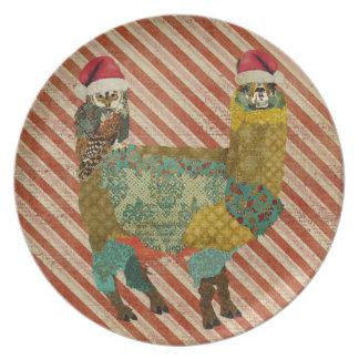 Teal Owl & Gold Alpaca Plate