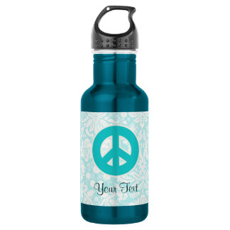 Teal Peace Sign 532 Ml Water Bottle