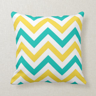 Teal, Pineapple, Wht Large Chevron ZigZag Pattern Cushion