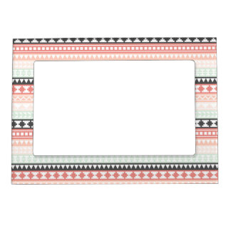 Teal, Pink and Gray Tribal Aztec Pattern Magnetic Picture Frame
