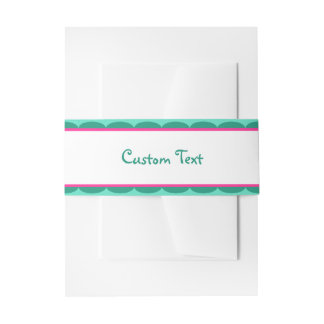 Teal & pink scalloped border belly band invitation belly band