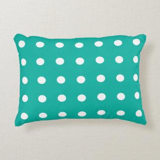 Teal Polka Dot Decorative Cushion