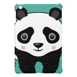 Teal  Polka Dot Panda iPad Mini Case