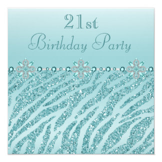 Teal Printed Jewels & Zebra Glitter 21st Birthday 13 Cm X 13 Cm Square Invitation Card