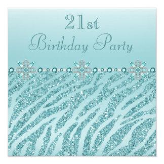 Teal Printed Jewels & Zebra Glitter 21st Birthday 13 Cm X 13 Cm Square Invitation Card